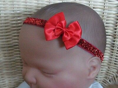 Baby Girl/reborn Doll Glitter Double Bow Headband Various Colours 0-24 Months
