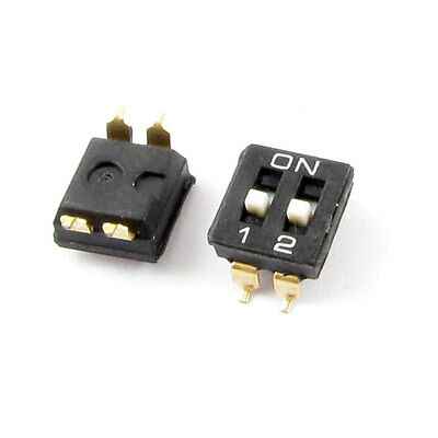 SMD Type 2 Row 4 Pin Terminals 2 Positions DIP Key Switch 2 Pcs