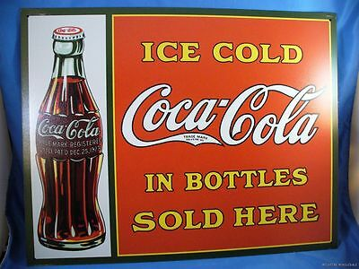 VINTAGE STYLE 1923 ICE COLD COKE COCA COLA SOLD HERE BOTTLE METAL TIN SIGN usa