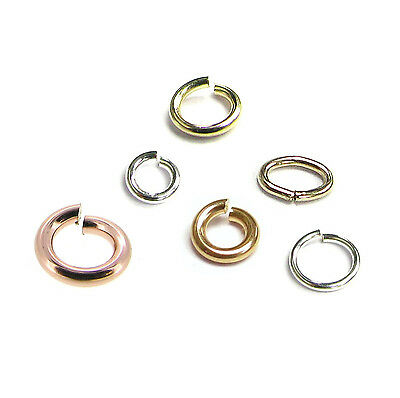 14k Gold Filled / .925 Silver Filled Open Jump Ring Round Oval Many Size