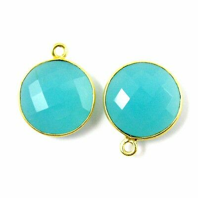 Prehnite Chalcedony 14x18mm Faceted Oval Bezel Gemstone Connector 2 pcs