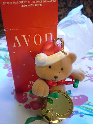 Avon The Gift Collection Merry Marches Christmas Ornament Teddy With Drum-New