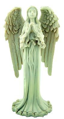 """Protector Guardian Angel w Wings 6"""" White Stone Statue Christian Home Decoration"""