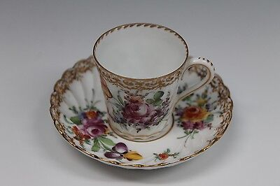Dresden Porcelain Hand Painted Cup and Saucer Gold with Flowers