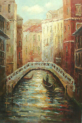 Classic Oil Painting Man Riding Boat on River Under Bridge in Venice City 24x36""