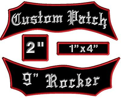 """4 Piece Custom Embroidered Patch BAT Set Rockers Name Motorcycle Biker Tags 9"""""""