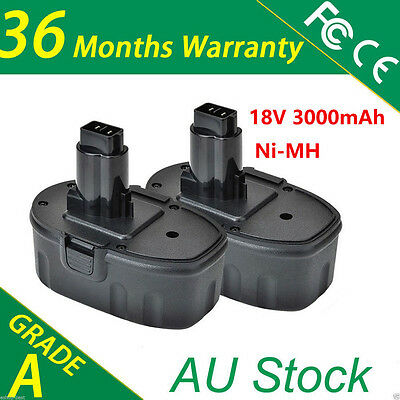2PCS Battery For Dewalt 18V 3.0Ah Ni-MH Heavy duty DE9095 DW9096 DE9099 DC9096