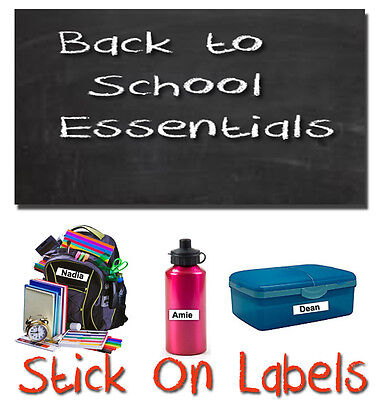 25 Stick On School Name Labels Tags Printed Waterproof Tapes  personalised