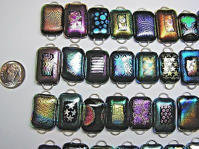 50 Fused Dichroic Glass Links! 2 Hoops! All Different! Regular Size! Lot Aa