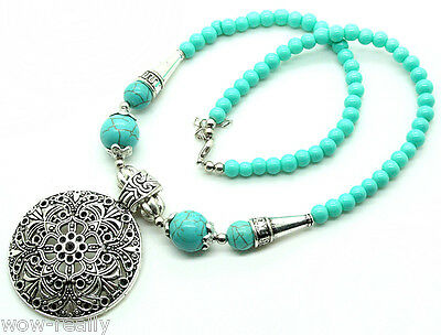 Pretty Turquoise Beads Round Tibetan silver Carved Flower Pendant Necklace Jewel