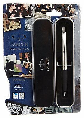 Parker Frontier Steel CT Chrome Trim Ball Point Pen, Fine Tip, Blue Ink Jotter