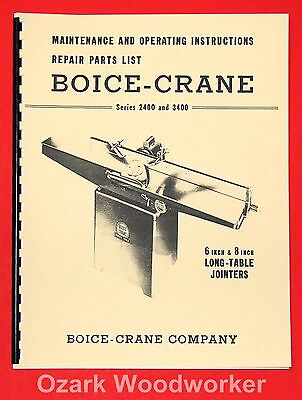 BOICE CRANE 2400 & 3400 6 & 8 Inch Jointer Instructions  Part Manual 0993