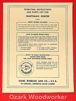 "CRAFTSMAN 103.20620 6"" Jointer Instructions Part Manual 0994"