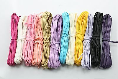 Lot 12 Paper Raffia Cord Ribbon Gift Wrap Craft Pack Solid Colors Strings,7YD/ea