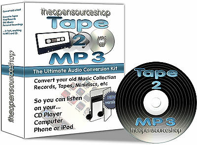 Tape 2 MP3 - Transfer Old Cassettes to MP3 or CD - 1m DIY Kit with FREE CD Gift