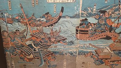 Antique Japanese Authentic Woodblock Print Triptych  Fight Of A Samurai Warriors