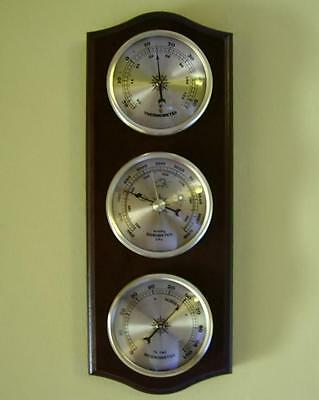 Traditional Weather Station Barometer Thermometer Hygrometer Gold Coloured Dials