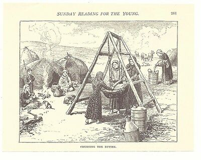 CHURNING THE BUTTER Nomads Farm Farming Engraving Art Picture Print 1913