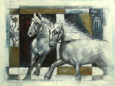 """Contemporary Oil Painting of Two White Horses Portrait on 12x16"""" Canvas Animal"""