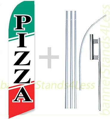 Feather Swooper Flutter Bow Banner Sign Flag 15' Kit - PIZZA b4