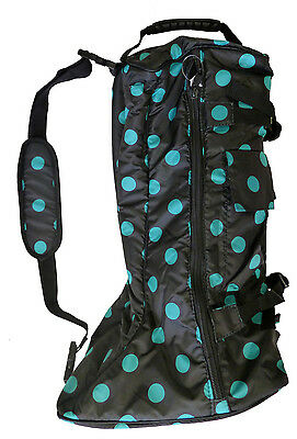 English Horse Riding Long Boot Carrying Travel Bag 420D Turquoise Polka Dots