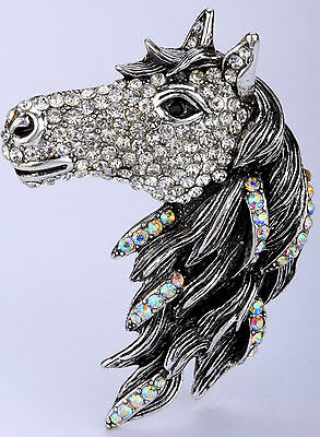 Silver crystal horse pin brooch pendant BA17 JEWELRY matching ring available