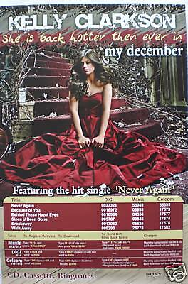 "Kelly Clarkson ""my December"" Promo Poster From Malaysia"