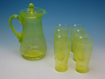 Yellow Vaseline Crackle Glass Covered Pitcher and 6 Tumblers