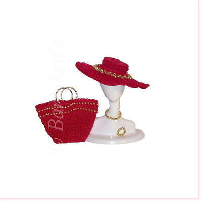 Barbie Silkstone Fr Tressy Fashion Doll Bead Hat Tote Accessory Set Red/Gold New