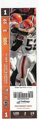 Lot Of 10 2013 Cleveland Browns Vs St. Louis Rams Ticket Stub 8/8/13
