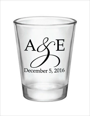 96 Wedding Favors Personalized 1.5oz Glass Shot Glasses NEW Initial Monograms