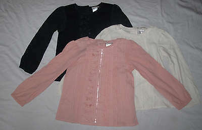 NEXT Girls Long Sleeve Bow Trim Tunic Top T-Shirt Pink Cream or Navy - New