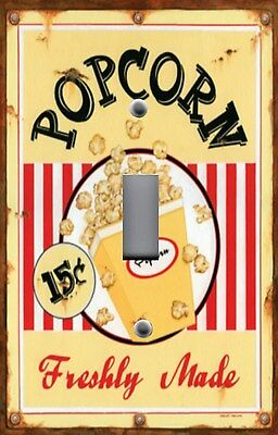 Light Switch Plate Switchplate & Outlet Covers MOVIE ROOM FRESHLY MADE POPCORN