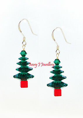 SWAROVSKI CRYSTAL Christmas Tree Earrings Emerald Green 925 Sterling Silver