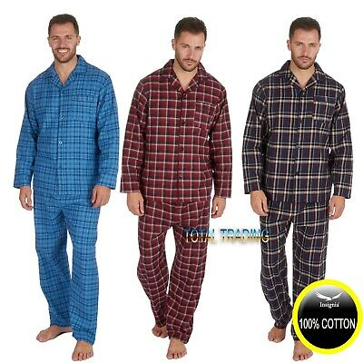 Mens Traditional Brushed Pure 100% Cotton pyjamas winter WARM flannel M-5XL pjs
