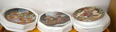 Lot of 3 Heirloom  Fine Porcelain Plates  - Franklin Mint & hamilton collection