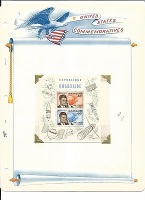 Rwanda, John F. Kennedy Collection on White Ace Pages, #130-136 Stamps & Cover