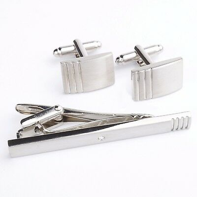 New Mens Silver Cufflinks and Skinny Tie Clip Clasp Bar Set Accessories