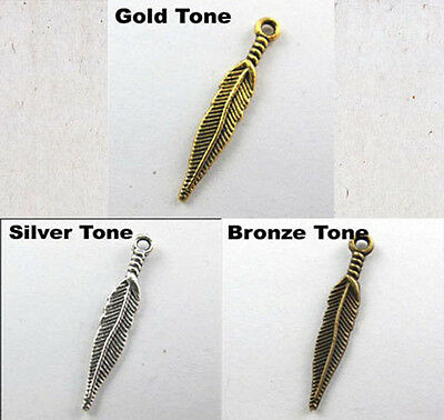 Lots 20Pcs Tibet Silver,Gold,Bronze 2-Sided Feather Leaves Charms Pendants 28mm
