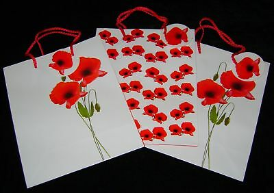 New Set 3 Gift Bags With Tags Red White Poppy Medium Pms