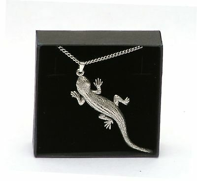 """Lizard Pendant and Necklace 18"""" Chain in English Petwer Gift Boxed Ladies"""