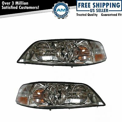 Headlights Headlamps Left & Right Pair Set NEW for 03-04 Lincoln Town Car