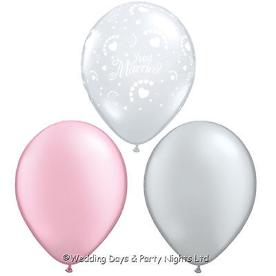 30 Just Married & Hearts Pink & Silver Helium / Air Balloons Wedding Decorations