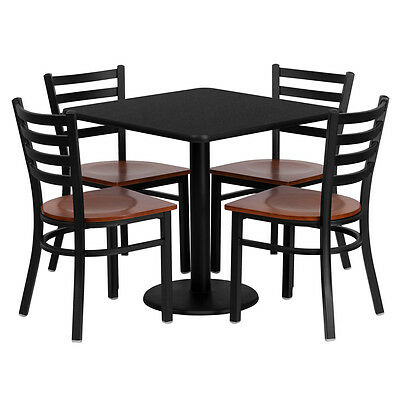 Restaurant Table Chairs 36'' Black Laminate with 4 Ladder Back Metal Chairs