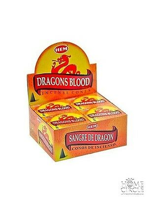 "Hem Bulklot-12 Packets / 120 Cones ""Dragons Blood"" Incense Cones Free Postage"