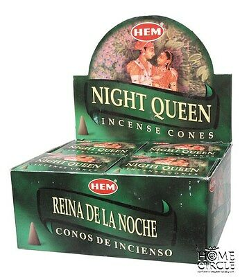 "Hem Bulklot-12 Packets /120 Cones ""Night Queen"" Incense Cones Free Postage"