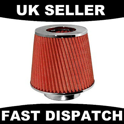 Induction Air Filter Kit Sports Universal Red Mesh Car