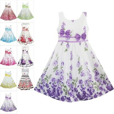 Kids Girls Dress Flower Formal Rose Bow Tie Party Princess 4-12Y Sunny Fashion
