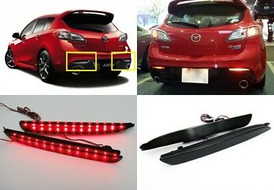 Mazda3 2010+ Black Smoked Lens LED Bumper Reflector Tail Brake Light MAZDASPEED3