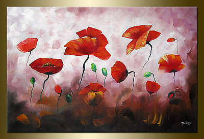Yuhong Red Poppies hand painted Floral oil painting bestbid_mall E754